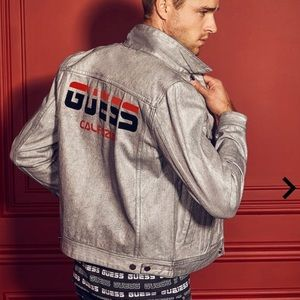 DILLON SILVER COATED DENIM GUESS JACKET